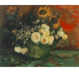Bowl with Sunflowers, Roses and